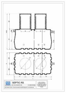 Trokomorna septička jama iz polietilena SEPTIC RS. Tehnička shema, tlocrt i presjek.