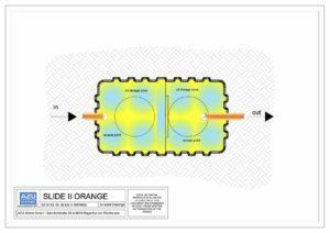 Separator SLIDE II ORANGE je namjenjen tretmanu oborinskih slivnih voda. Tlocrt modela.