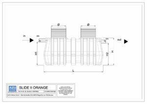 Separator ulja SLIDE II ORANGE, gravitacijsko uklanjanje mineralnih ulja i lakih tekućina. Bokocrt.