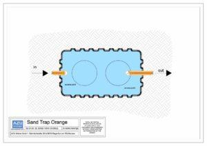 SAND ORANGE pjeskolov , taložnik za mulj za separatore lakih tekućina. Tlocrt modela.